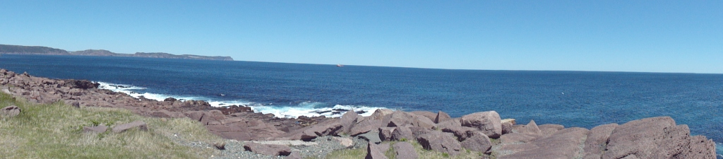 The view from Cape Spear, with St. John's harbor and Signal Hill in the distance.