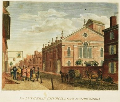 4 William Russell Birch (English artist, 1755-1834) New Lutheran Church on Fourth Street, Philadelphia. City of Philadelphia in the State of Pennsylvania, North America, as it appeared in the Year 1800